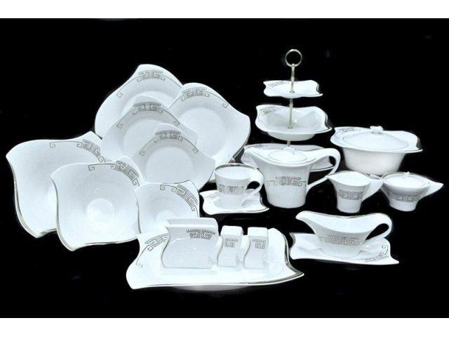 Обеденный сервиз 100 предметов Стразы серебро в подарочной упаковке. Фарфор