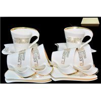 Чайный набор Lenardi Стразы золото 0.2 л на 6 персон 12 предметов в подарочной упаковке
