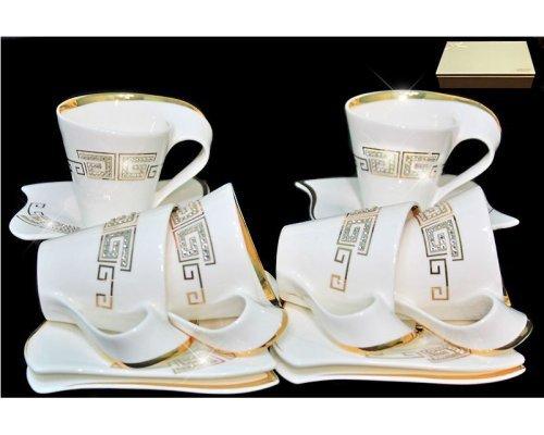 Чайный набор Lenardi Стразы золото на 6 персон 12 предметов в подарочной упаковке Фарфор