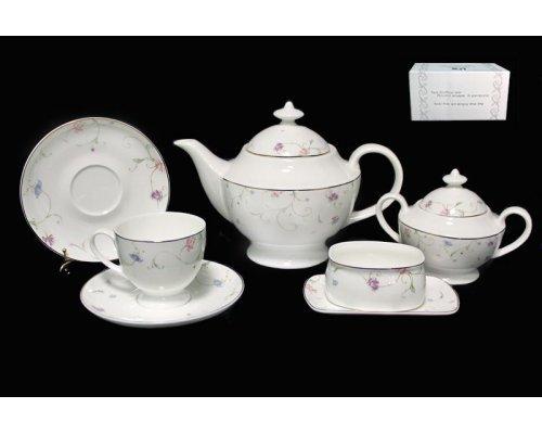 Чайный сервиз в подарочной упаковке Lenardi Английский сад на 6 персон 18 предметов Костяной фарфор