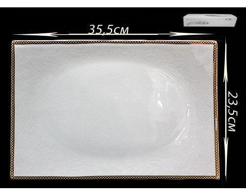 Прямоугольное блюдо 35,5см. в подарочной упаковке Lenardi Galaxy gold Костяной фарфор