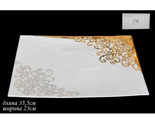 Прямоугольное блюдо 35,5см. Lenardi Золотой орнамент в подарочной упаковке Костяной фарфор