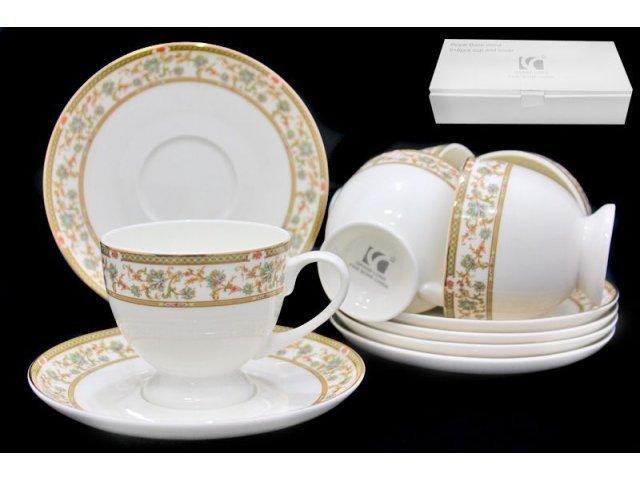 Чайный набор Lenardi Мейсенский букет на 6 персон 12 предметов в подарочной упаковке Костяной фарфор