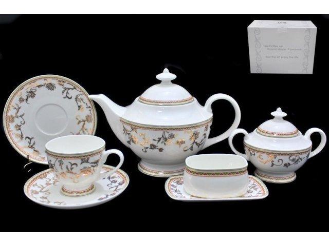 Чайный сервиз Lenardi Золотой цветок на 6 персон 18 предметов в подарочной упаковке Костяной фарфор