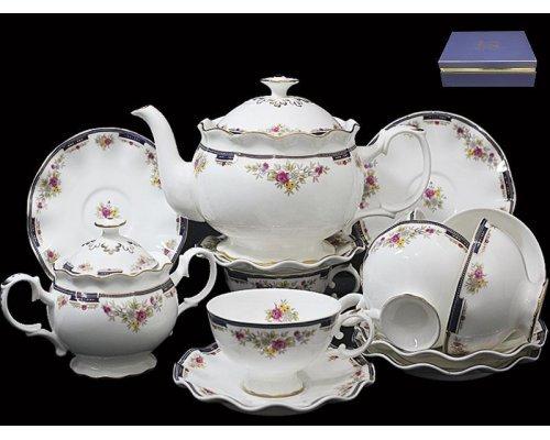 Чайный сервиз Lenardi Кобальтовый борт на 6 персон 16 предметов в подарочной упаковке