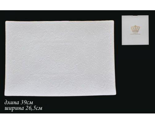 Блюдо 39см Lenardi Белая роза в подарочной упаковке Фарфор