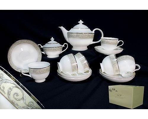 Чайный сервиз в подарочной упаковке Lenardi Фарфон на 6 персон 16 предметов Костяной фарфор