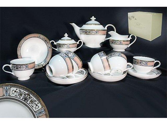 Чайный сервиз в подарочной упаковке Lenardi Verona на 6 персон 17 предметов Костяной фарфор