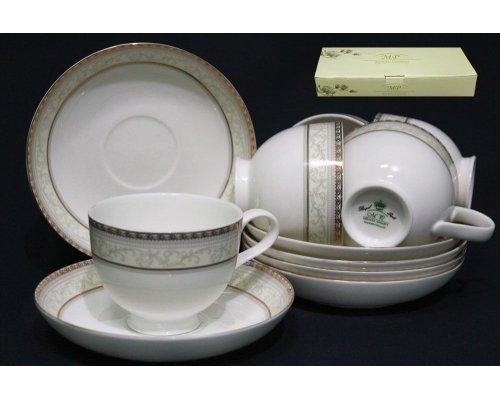 Чайный набор Lenardi Элегант на 6 персон 12 предметов в подарочной упаковке Костяной фарфор