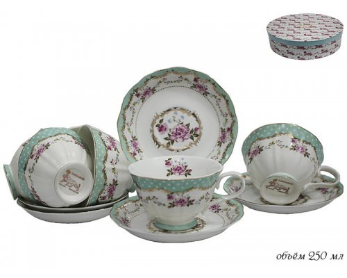 Чайный набор Lenardi на 6 персон 12 предметов в подарочной упаковке Фарфор