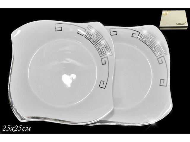Набор из 2 тарелок 25см. в подарочной упаковке Lenardi Стразы серебро Фарфор