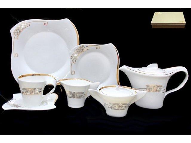 Чайный сервиз Lenardi Стразы золото на 6 персон 24 предмета в подарочной упаковке Фарфор