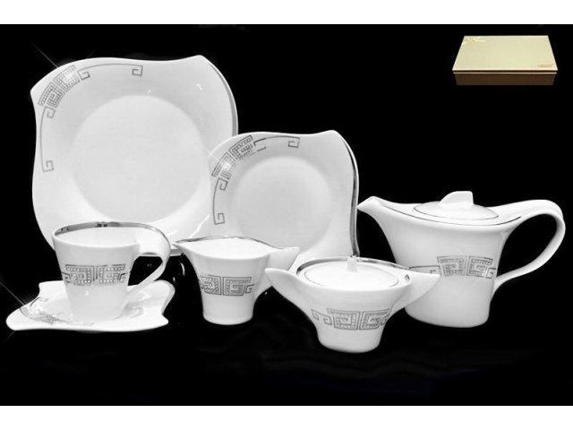Чайный сервиз Lenardi Стразы серебро на 6 персон 24 предмета в подарочной упаковкеФарфор