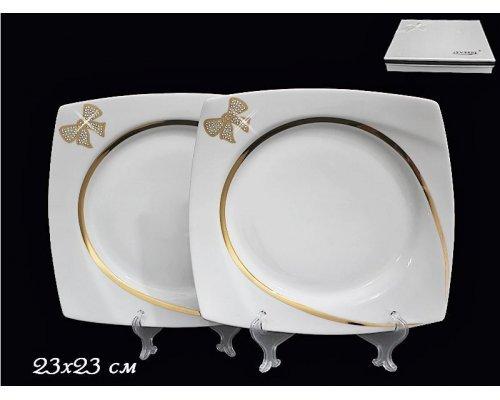 Набор из 2-х тарелок 23см в подарочной упаковке Lenardi Бантик Фарфор