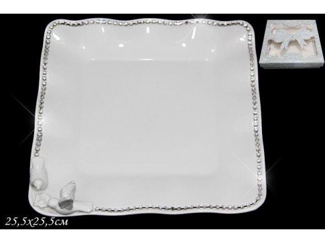 Квадратное блюдо 25,5см. Lenardi Голубь и голубка в подарочной упаковке Керамика