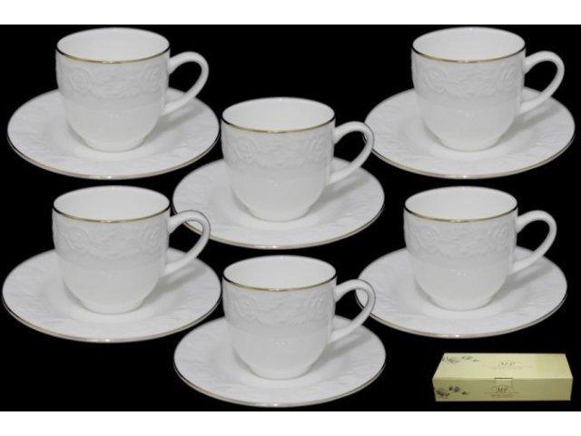 Кофейный набор Lenardi Белая роза на 6 персон 12 предметов в подарочной упаковке Костяной фарфор