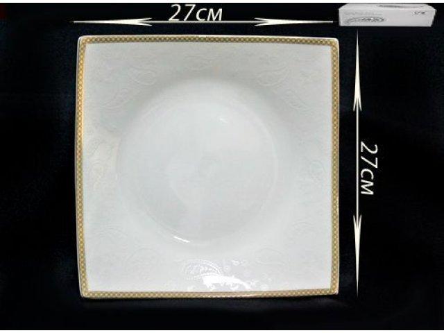 Квадратное блюдо 27см. в подарочной упаковке Lenardi Galaxy gold Костяной фарфор