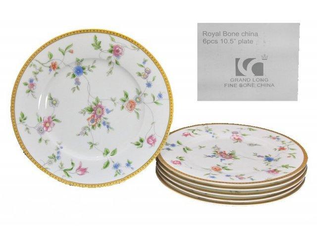 Набор из 6 тарелок 27см. в подарочной упаковке Lenardi Цветочная поляна Костяной фарфор