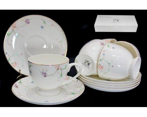 Чайный набор Lenardi Английский сад на 6 персон 12 предметов в подарочной упаковке Костяной фарфор