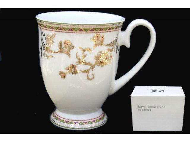 Кружка Lenardi Золотой цветок в подарочной упаковке Костяной фарфор