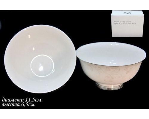 Набор из 2 салатников 11,5см. Lenardi Серый шелк в подарочной упаковке Костяной фарфор