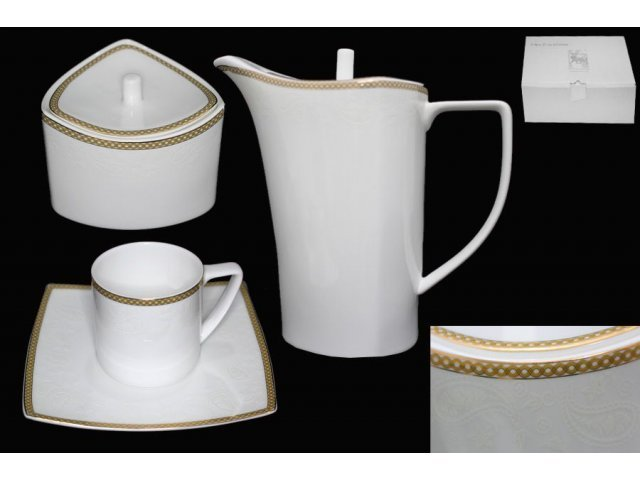 Чайный сервиз Lenardi Galaxy gold на 6 персон 16 предметов в подарочной упаковке Костяной фарфор