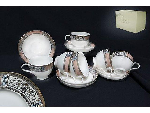 Чайный набор в подарочной упаковке Lenardi Verona на 6 персон 12 предметов Костяной фарфор