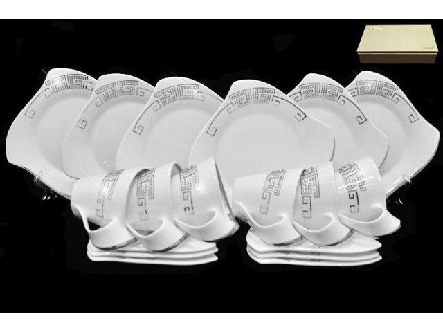Чайный набор Lenardi Стразы серебро на 6 персон 18 предметов в подарочной упаковке Фарфор