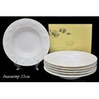 Набор из 6 глубоких тарелок 23см. Lenardi Белая роза в подарочной упаковке Костяной фарфор