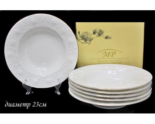 Набор из 6 глубоких тарелок 23 см Lenardi Белая роза в подарочной упаковке