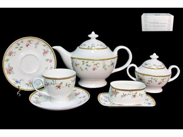 Чайный сервиз в подарочной упаковке Lenardi Цветочная поляна 18пр. Костяной фарфор