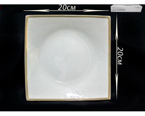 Квадратное блюдо 20см. в подарочной упаковке Lenardi Galaxy gold Костяной фарфор