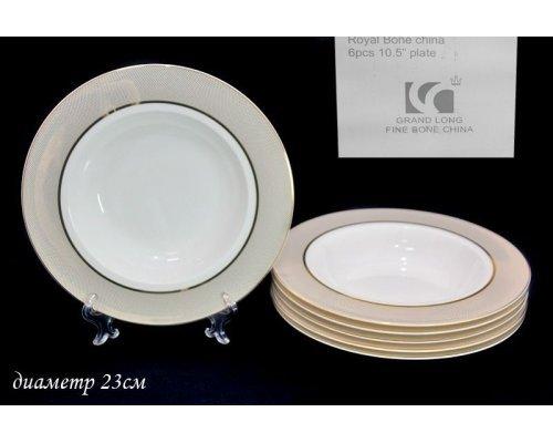 Набор из 6 глубоких тарелок 23см Lenardi Золотая симфония в подарочной упаковке Костяной фарфор