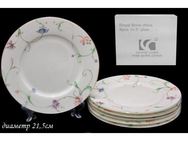 Набор из 6 тарелок 21,5см. в подарочной упаковке Lenardi Английский сад Костяной фарфор