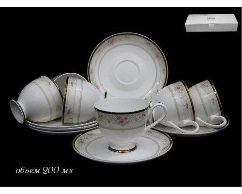Чайный набор Lenardi Лагуна на 6 персон 12 предметов в подарочной упаковке Костяной фарфор