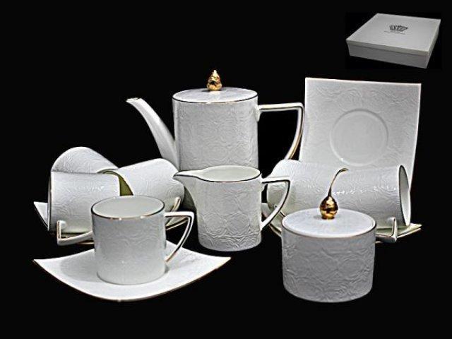 Чайный сервиз Lenardi Белая роза на 6 персон 15 предметов в подарочной упаковке Фарфор