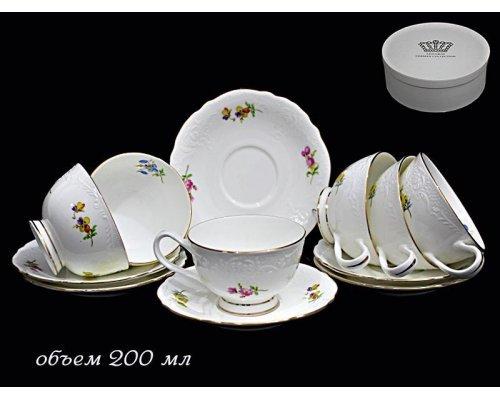 Чайный набор Lenardi Blumen на 6 персон 12 предметов в подарочной упаковке Фарфор