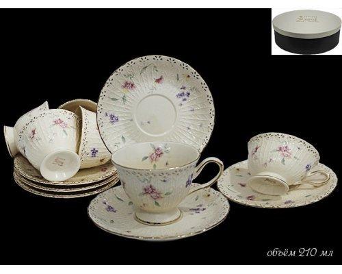 Чайный набор на 6 персон 12 предметов Адель Lenardi в подарочной упаковке Фарфор