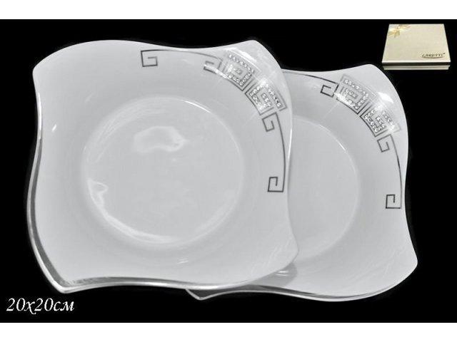 Набор из 2 глубоких тарелок 20см. в подарочной упаковке Lenardi Стразы серебро Фарфор