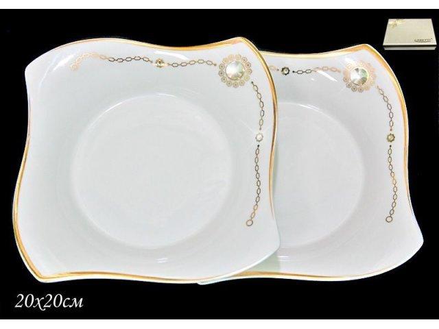 Набор из 2 глубоких тарелок 20 см Золотая цепь в подарочной упаковке. Фарфор