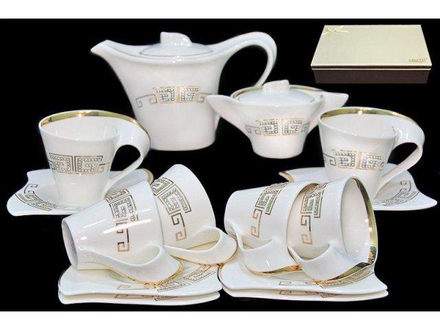 Чайный сервиз 16 предметов в подарочной упаковке Стразы золото. Фарфор