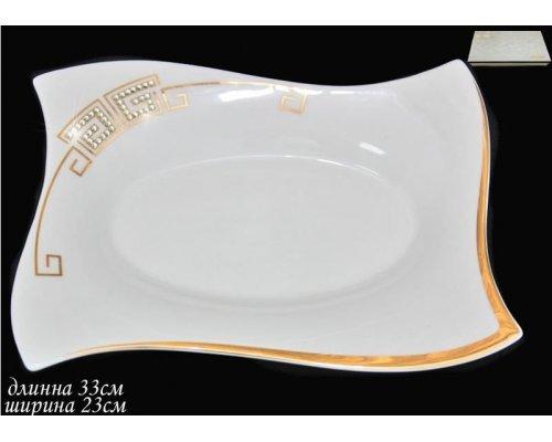 Прямоугольное блюдо 33см Стразы золото в под.уп. Фарфор