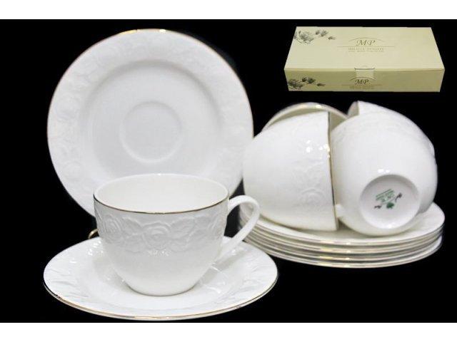 Чайный набор в подарочной упаковке Lenardi Белая роза на 6 персон 12 предметов Костяной фарфор