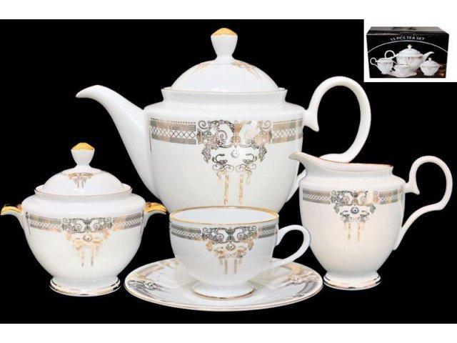 Чайный сервиз Lenardi Аристократ на 6 персон 17 предметов в подарочной упаковке Костяной фарфор