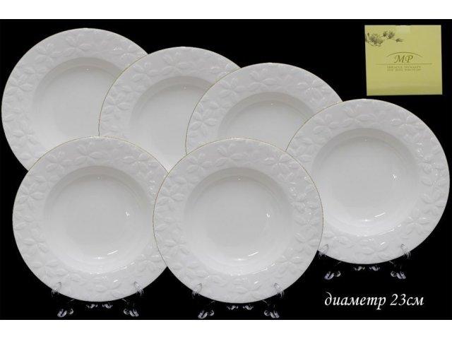 Набор из 6 глубоких тарелок 23см в подарочной упаковке Lenardi Сакура Костяной фарфор