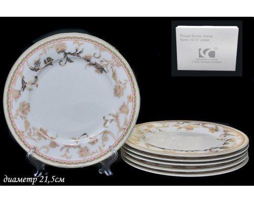Набор из 6 тарелок 21,5см. Lenardi Золотой цветок в подарочной упаковке Костяной фарфор