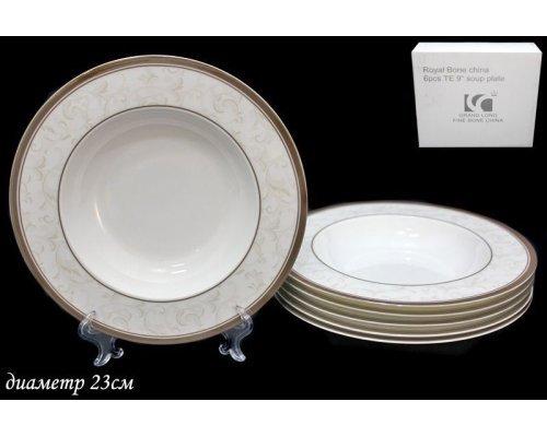 Набор из 6 глубоких тарелок 23см. Lenardi Серый шелк в подарочной упаковке Костяной фарфор