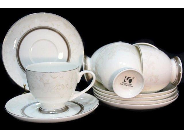 Чайный набор Lenardi Серый шелк на 6 персон 12 предметов в подарочной упаковке Костяной фарфор