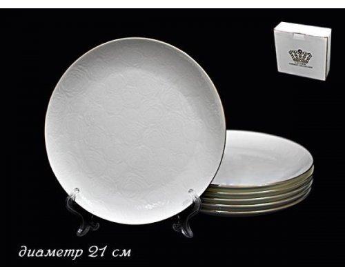 Набор 6 тарелок 21 см Lenardi Белая роза в подарочной упаковке Фарфор
