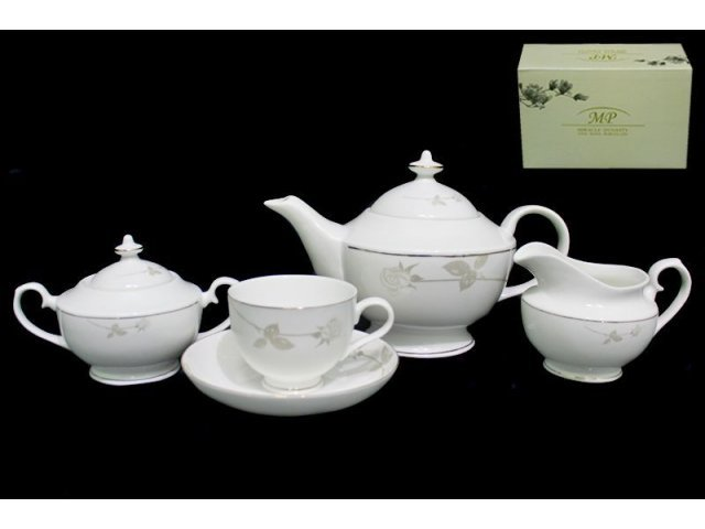 Чайный сервиз Lenardi Престиж на 6 персон 17 предметов в подарочной упаковке Костяной фарфор